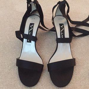 Sexy Black Satin Nina Lace Up Heels